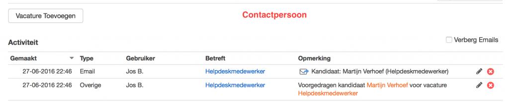 email log voorgestelde kandidaten bij contactpersoon