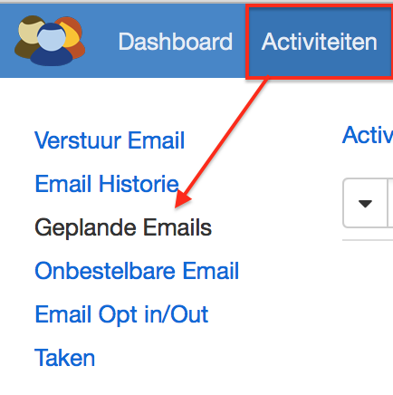 activiteiten menu geplande emails
